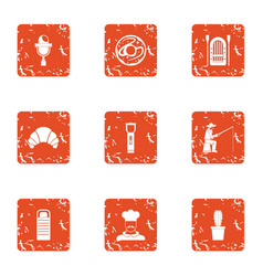 Cooking fish icons set grunge style vector