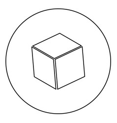 Cube black icon outline in circle image vector