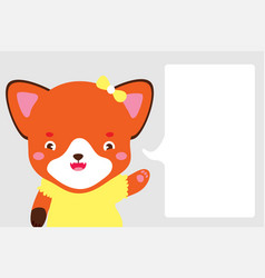 cute fox girl in cartoon style fox points with vector image