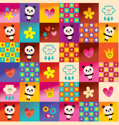 cute panda bears and flowers pattern vector image