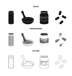 design of protein and sea icon set of vector image