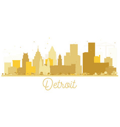 Detroit usa city skyline golden silhouette vector