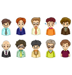 Different faces of businessmen vector image