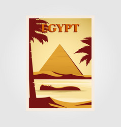 Egypt vintage poster design with pyramid and nile vector