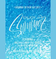 enjoy summer hand lettering poster hand drawn vector image