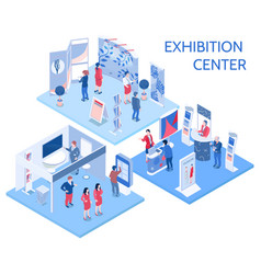 exhibition center isometric compositions vector image