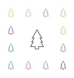 Fir-tree flat icons set vector