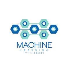 Flat machine learning logo design computer vector