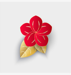 flower with leaf origami chinese new year decor vector image