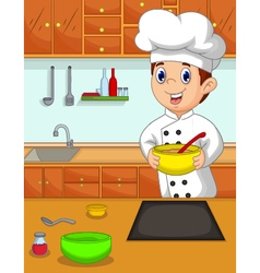 funny chef cartoon bring bowl in the kitchen vector image