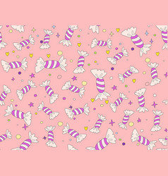 funny cute cartoon seamless pattern with sweet vector image