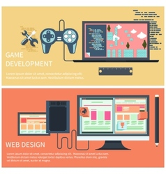 Game development and web design concept vector image
