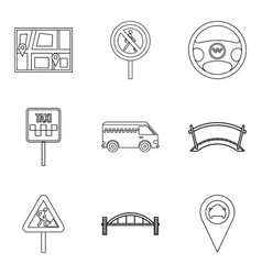 Gateway icons set outline style vector