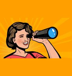 girl looking through spyglass retro comic pop art vector image