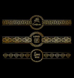 Golden borders set with gold circles on the black vector