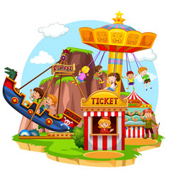happy children riding in funpark vector image