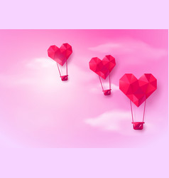 hot air balloons heart shaped flying on pink sky vector image
