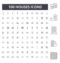 houses line icons signs set outline vector image