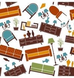 Interior furnitures seamless background pattern vector image