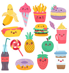 Isolated icons food cartoon characters vector