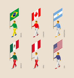 isometric 3d people with flags vector image