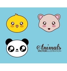 Kawaii hedgehog chicken and panda icon vector image