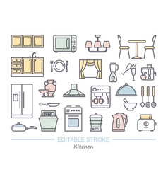 kitchen icon set linear icons with editable vector image