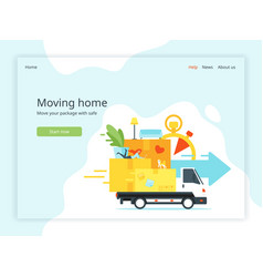 Moving home landing page vector