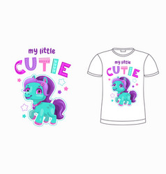 My little cutie funny cartoon pony vector
