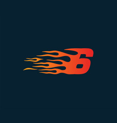 number 6 fire flame logo speed race design vector image