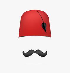 Ottoman turkish hat tarboosh cap and mustache vector