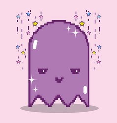 Pixelated ghost videogame character vector