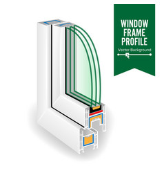 plastic window frame profile energy efficient vector image