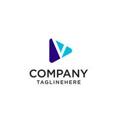 play media letter v logo design concept template vector image