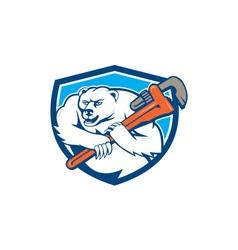 Polar Bear Plumber Monkey Wrench Shield Cartoon vector