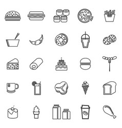 popular food line icons on white background vector image