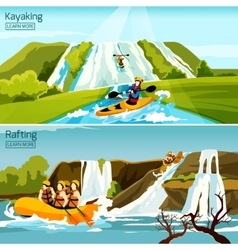 Rafting Canoeing Kayaking Compositions vector