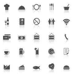 Restaurant icons with reflect on white background vector image