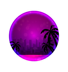 round banner with evening of a city beach with vector image