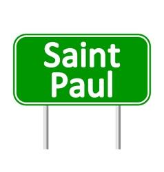 Saint Paul green road sign vector