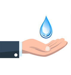Save water concept with hand holding water drop vector