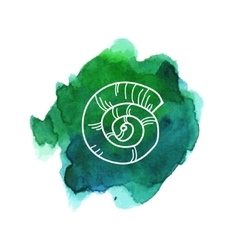 Sea shell on watercolor stain vector image