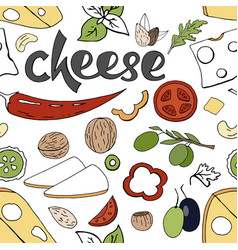 seamless food pattern with cheese and vegetables vector image