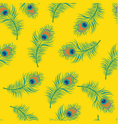 seamless pattern peacock feather vector image