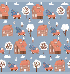 seamless pattern with winter houses for christmas vector image