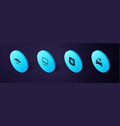 Set isometric car rental police badge computer vector