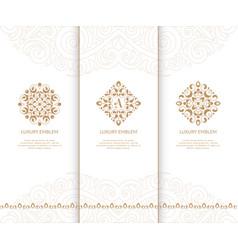 set of golden luxury elements vector image