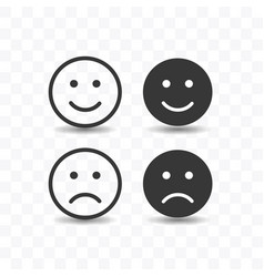 set of smile and sad icon simple flat style vector image