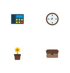 set of workspace icons flat style symbols with vector image