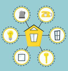 Smart house modern house management system flat vector